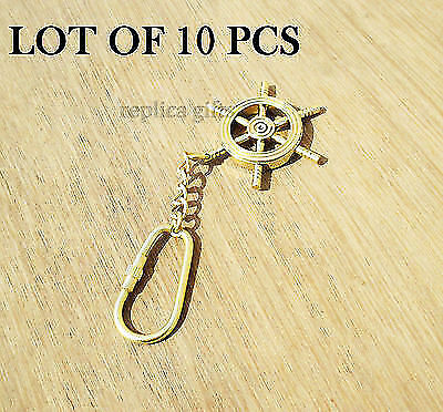 Collectible Nautical Ship Wheel Solid Brass Finished Key chain New lot of 10pc