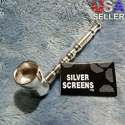 NEW Small Silver Bamboo Smoking Pipe Tobacco Herb Portable Metal Pocket Size