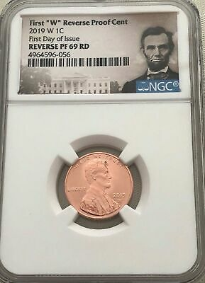 "Proof_69,ngc 2019-W, Lincoln Cent ""first Day Issue"" Reverse Proof ""portrait"""