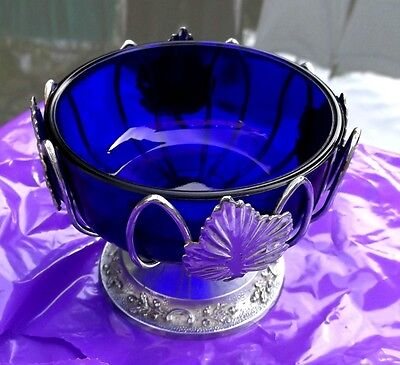 DISH &  GLASS LINER - Art nouveau style dish with blue liner.