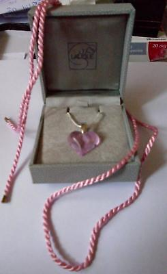Lalique Crystal Glass Very Pretty Heart Pendant Pretty Pink  - Stunning