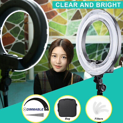 "18"" 75W Fluorescent Dimmable Ring Light w/ Bag Portrait Light Photo Video Studio"