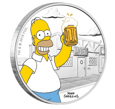 2019 The Simpsons - Homer 1oz Silver Proof Coin  AU$115.00