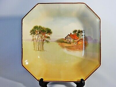 Antique Art Deco 1940 Royal Doulton English Cottages Octagonal Serving Bowl Dish