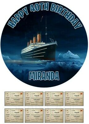 Titanic Personalised Edible Icing Birthday Cake Topper Boarding Pass Cupcakes