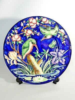Superb Antique Art Deco 1948 Maling Kingfisher Blue Serving Display Plate 6305