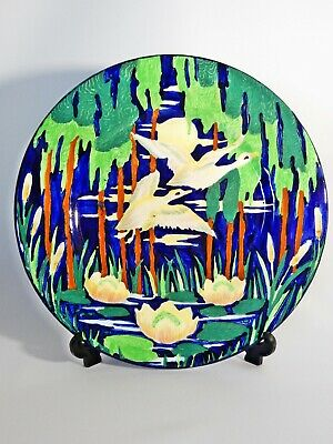 Superb Antique Art Deco Maling Birds in Flight Blue Large Serving Display Plate
