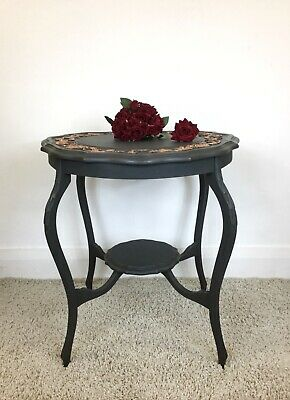 Ornate Side Table With Carvings, Hand Painted, Annie Sloan Chalk Paint
