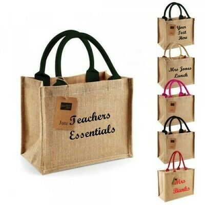 Teachers End of Year Present Shimmer Jute Mini Tote Gift Bag//lunch Shop wm431