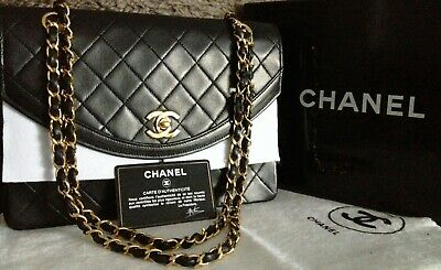 f4c14bdb49aa FULL SET MINT CLASSIC CHANEL Black Quilted 24k Gold Chain Medium 10
