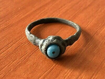 Ancient Roman Bronze Ring with Blue Stone Circa 100-200 AD Very Rare