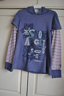 Girls Fat Face 10-11 years Hoodie Snow Angel Christmas Pink Blue Grey Layer