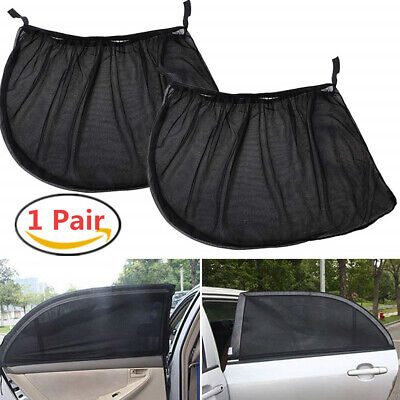 2PCS Car Kids Sun Shade Shield Socks Rear Side Window Large Square Cover UV Mesh