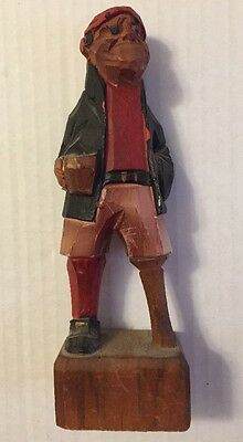 Wood Carved Figure Pirate Peg Leg Nautical Vtg Estate Sale Find L