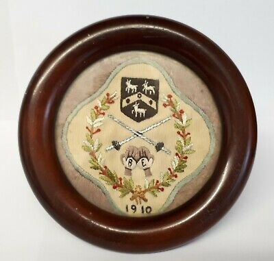 Antique Wooden Picture Frame With Embroidered Tapestry Dated 1910.