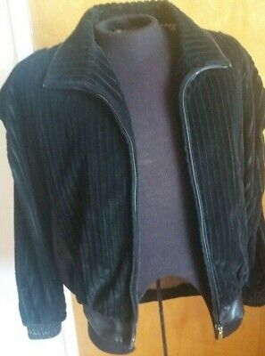 8976a1734 $5500 ZILLI BLACK Corduroy with Calf Suede Leather Trim Jacket Size ...