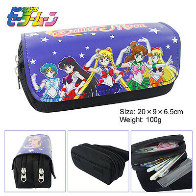 Anime Sailor Moon Double Layer Zipper Pen Bag Pencil Case Toy Gift Kids School