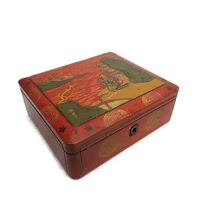 Vintage Antique? Chinese Papier Mache Red Gold Lacquer Box Hand Painted