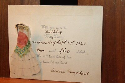 1920 Antique Birthday Party Invitation Die Cut Lady Irene Campbell
