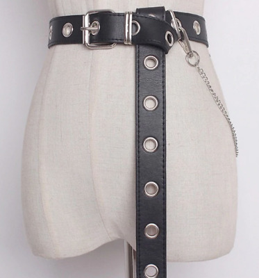 New Boho Festival Hip Hop Faux Leather Long Detachable Chain Belt Uk Seller