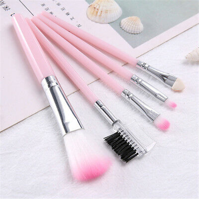 5x Pink Makeup brush set foundation brush eye shadow brush eyebrow comb blush GX