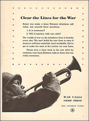 1942 Vintage ad for Bell Telephone System`WWII era Soldier Art (042416)