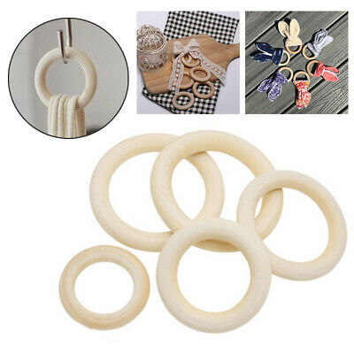 10 Pcs Natural Wooden Rings Round Raw Unfinished Wood Loop Jewellery DIY 40-70mm