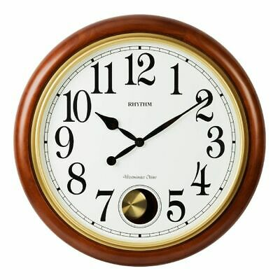 Rhythm Deluxe Round Wooden Chiming Pendulum Wall Clock - 20 Chime Options