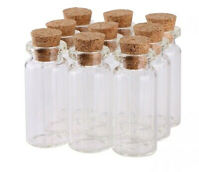 100 10ml Small Mini Glass Bottles with Cork Stopper Tiny Vials for Art Crafts