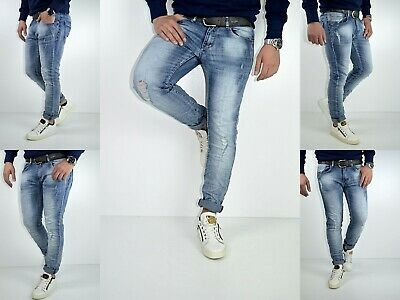 HERREN STYLE YOUNG SKINNY Fashion STONEDWASHED Destroyed FIT Blue JEANS HOSE