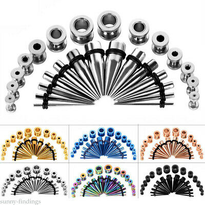 Ear Stretching Gauges Set Tapers Tunnels Plugs Kit Earrings 316L Surgical Steel