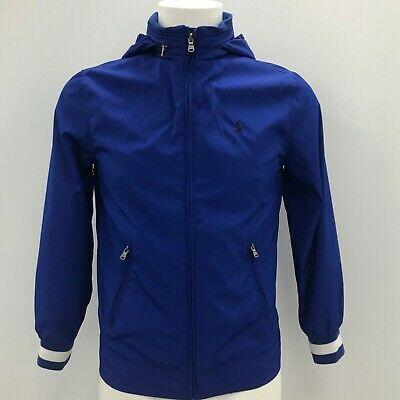 POLO RALPH LAUREN Boys Royal Blue Hooded Jacket Size L (14/16) Age 10-12 FR02499