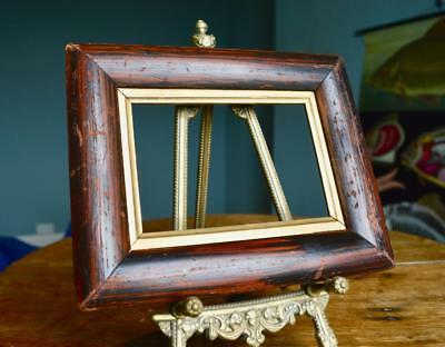 "Good Antique Victorian Picture Frame 5.75"" X 4.25"" Rebate Faux Rosewood Veneer"