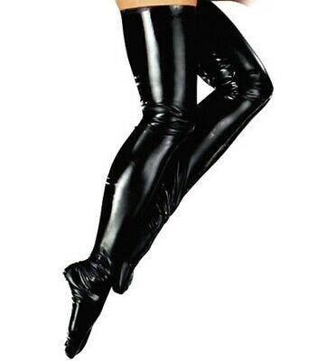 The Late X Sexy Black Latex Glossy Wet Look Skinny Thigh High Stockings