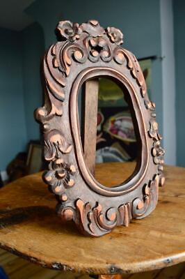 "Stunning Antique Victorian Carved Oak Picture Frame 7"" X 4"" Rebate Arts & Crafts"