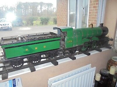 """live steam train model 5"""" with track and tender"""
