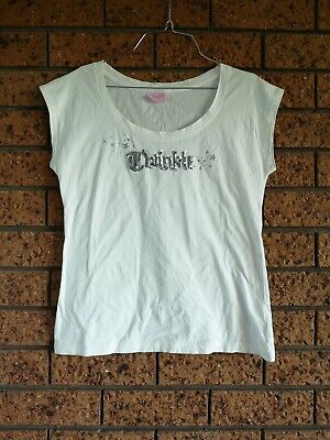 """PETER ALEXANDER White """"Twinkle"""" T-Shirt Top Tee Sequins Womens Size L"""