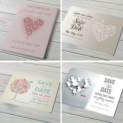 Personalised Wedding Save the Date Cards with Envelopes SV