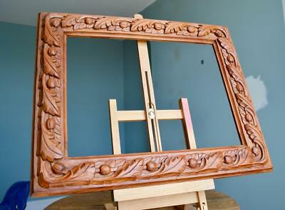 "STUNNING DEEPLY CARVED WOODEN PICTURE FRAME 16""x12"" REBATE ARTS & CRAFTS NOUVEAU"