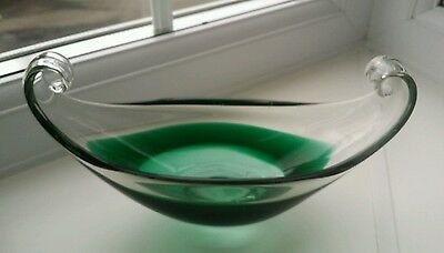 Vintage Scandinavian sculptural green and clear glass bowl