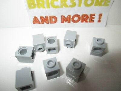 Lego 8x Brick Brique Modified 1x1 hole trou 6541 gray//gris//grau