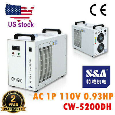 S&A CW-5200DH Water Chiller for One 8KW Spindle or 130-150W CO2 Laser Tube 110V