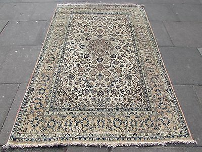 Fine Antique Traditional Persian Rug Wool Cream Oriental Hand Made Rug 225x149cm