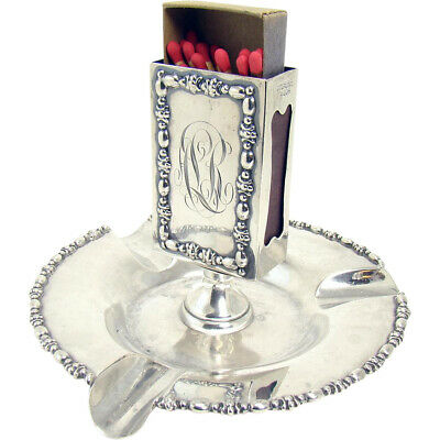 Victorian Sterling Match Holder and Ashtray