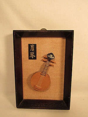 Vintage Oriental Asian Ruan Chinese Guitar Wall Plaque