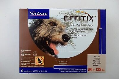 6-Pack Virbac EFFITIX Flea & Tick Topical Solution for X-LARGE Dogs, 89-132 lbs