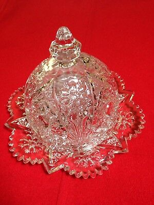VTG 'Imperial COSMOS' Clear Pressed Glass Round Butter Cheese Dish w/Lid - EUC