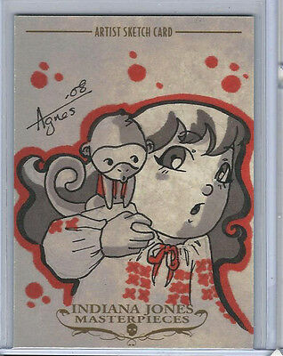 Indiana Jones Masterpieces 2008 Topps Sketch Card by Agnes Garbowska 1/1
