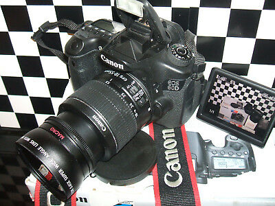 Canon EOS 60D 18.0MP Digital SLR Camera withTHREE LENSES EF-S IS II 18-55mm Len