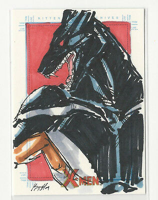 2009 X-Men Archives Marvel Hand Drawn Sketch Card by Unknown Artist 1/1